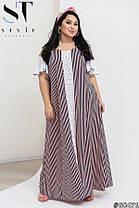 Модное женское платье свободного кроя в продольную полоску декорированное кружевом с 50 по 64 разм, фото 2