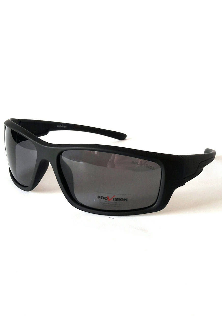 Солнцезащитные очки спортивного плана. Высокое качество, матовый чёрный пластик, Provision