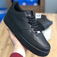 Кросівки Чоловічі та Жіночі Nike Air Force Чорна Шкіра (40-45)