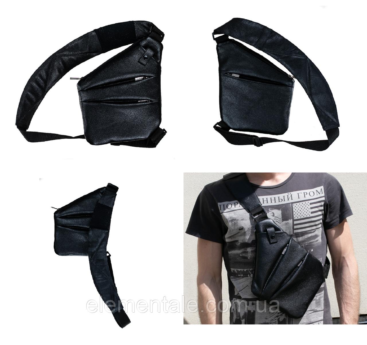 Мужская сумка Valenta кожаная через плечо 28х22х2 см Черная