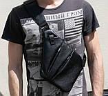 Мужская сумка Valenta кожаная через плечо 28х22х2 см Черная, фото 4