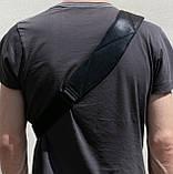 Мужская сумка Valenta кожаная через плечо 28х22х2 см Черная, фото 6