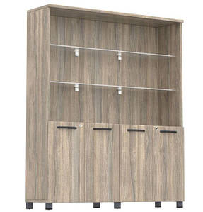 Шкаф комбинированный SIG-604 (2400х420х1900мм) Опора черный графит. Вяз Либерти Дымчатый