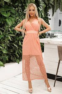 Женское нарядное платье миди с сеткой