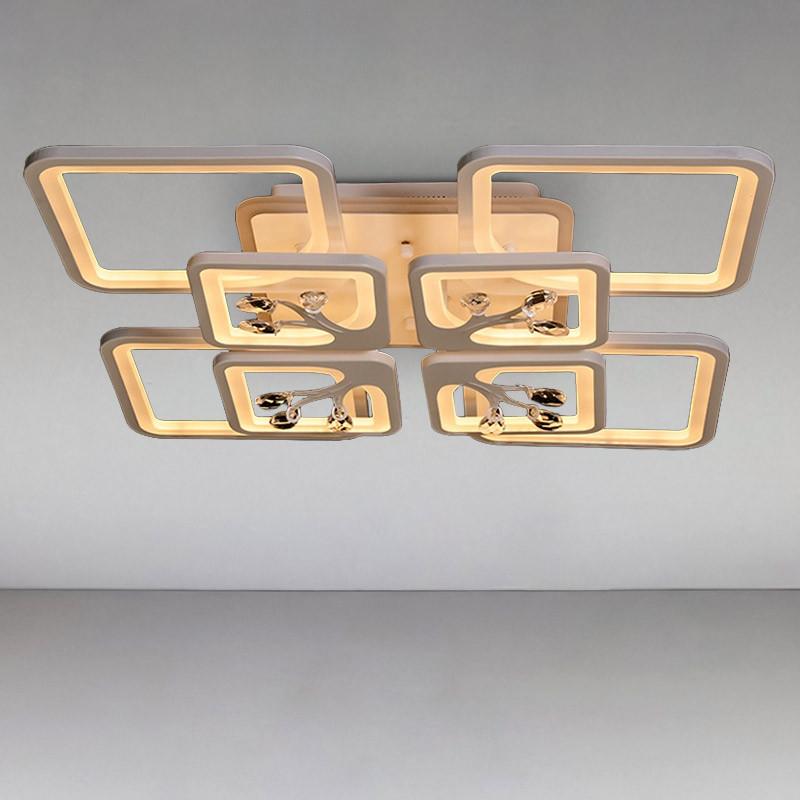 Люстра светодиодная DS-814503/4+4WH LED 3color dimmer 190W, с диммером и LED подсветкой, цвет белый