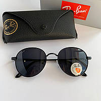 Солнцезащитные очки Ray Ban Round черные в черной оправе