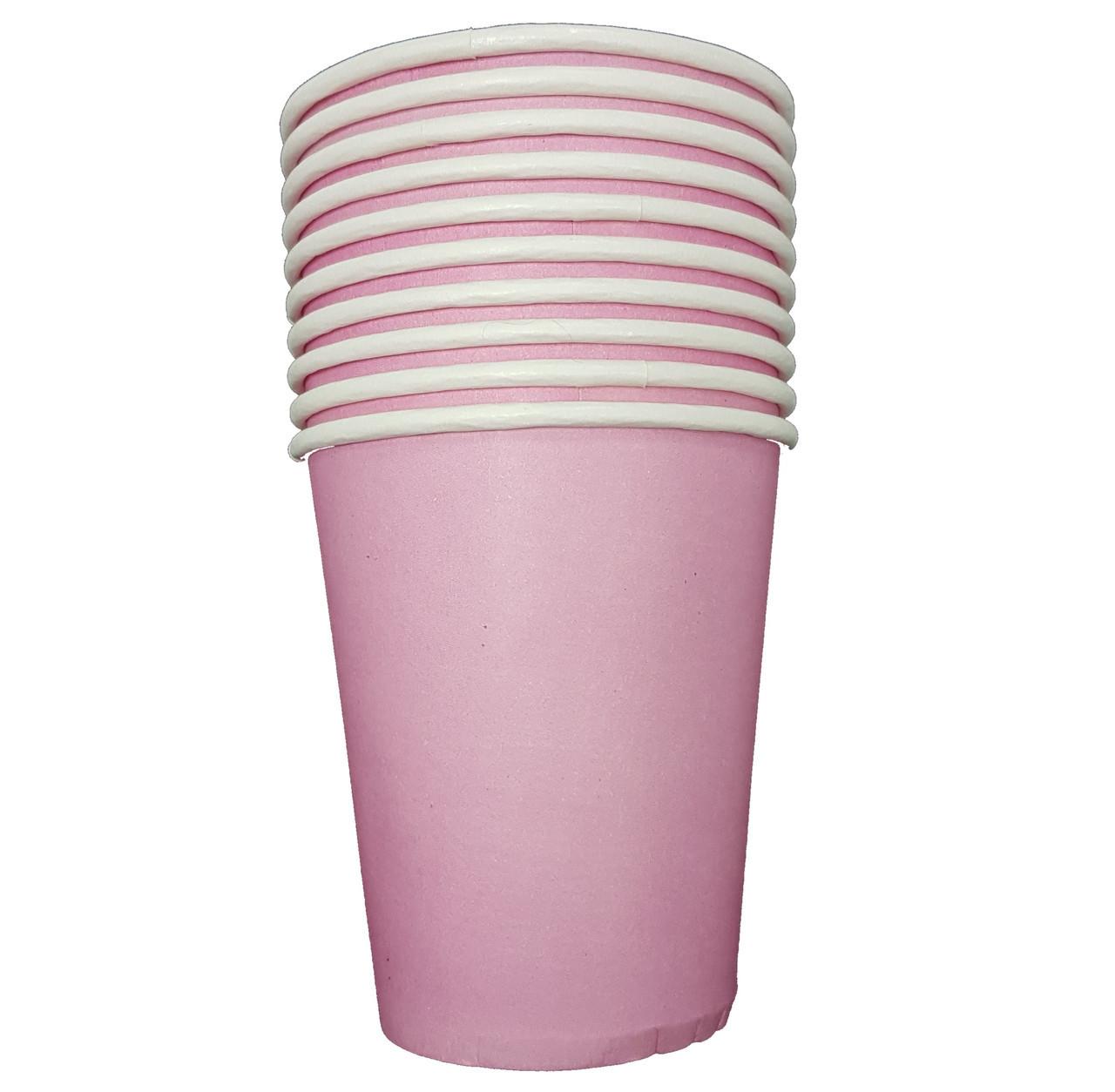 Стаканчики бумажные розовые 10шт., для вечеринки Baby Shower