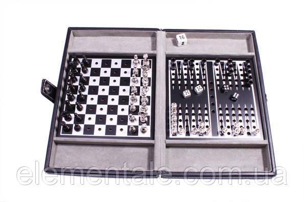 Дорожный набор в кожаном кейсе Duke Шахматы шашки нарды