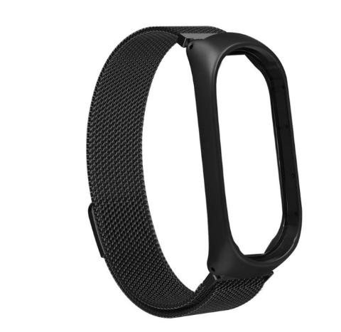 Металлический браслет чёрный с магнитной застёжкой для фитнес трекера Xiaomi mi band 4 / 3