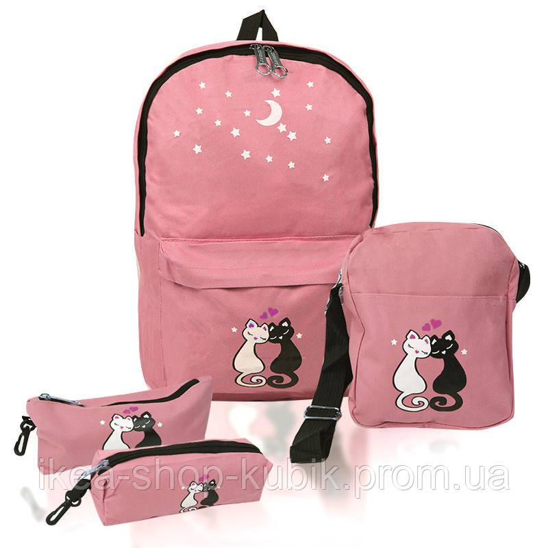 Набір з принтом Кішки 4 в 1: рюкзак, сумка, клатч, косметичка рожевий