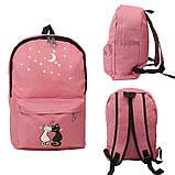 Набір з принтом Кішки 4 в 1: рюкзак, сумка, клатч, косметичка рожевий, фото 2