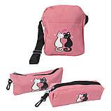 Набір з принтом Кішки 4 в 1: рюкзак, сумка, клатч, косметичка рожевий, фото 3