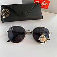 Солнцезащитные очки Ray Ban Round черные в серебристой оправе
