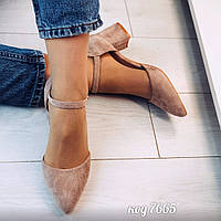 Бежевые туфли из эко-замши 40 размер, фото 1