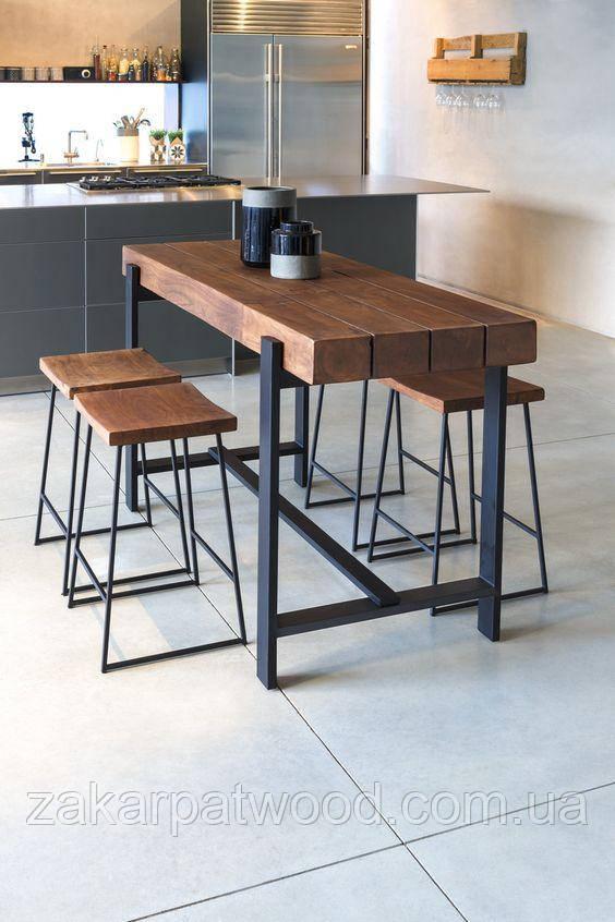 Барний стіл лофт (+4 стільця лофт 80см)