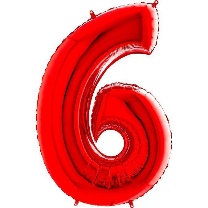 Фольгированные шары цифры - цифра 6 Красная Red 100см Grabo (Упакованая)