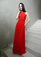 Вечернее длинное платье с открытой спиной, красное, коралловое, нарядное, на свадьбу, на выпускной