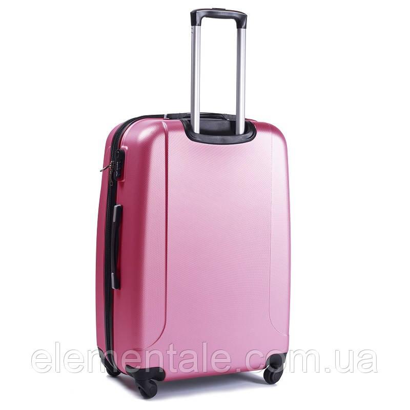 Пластиковий Чемодан на великий дорожній для подорожей Wings smile на 4-х колесах Рожевий