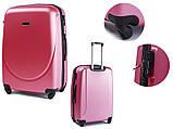 Пластиковий Чемодан на великий дорожній для подорожей Wings smile на 4-х колесах Рожевий, фото 3