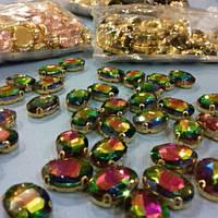 Cтразы пришивные в золотых цапаx Овал, размер 13х18мм, цвет Rainbow Gold + silver AB, 1шт