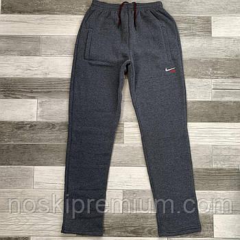Штаны спортивные мужские х/б на байке без манжета Nike, размер 46-54, серые, 05415