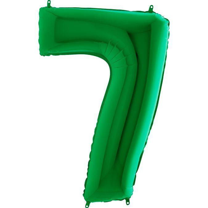 Фольгированные шары цифры - цифра 7 Зеленая Green 100см Grabo (Упакованая)