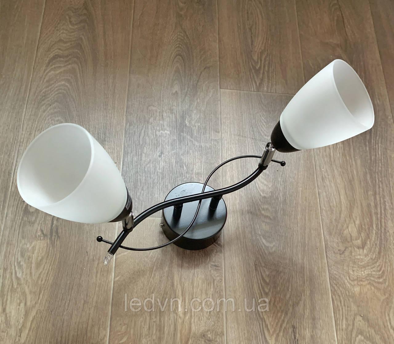 Стельова люстра на 2 лампи чорна з поворотними плафонами