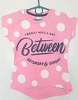 Стильная розовая футболка для девочек 6-10 лет .