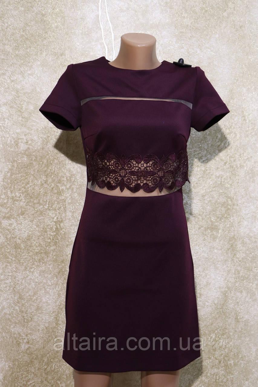 Молодіжне плаття сливового кольору з коротким рукавом. Молодіжне плаття сливового кольору