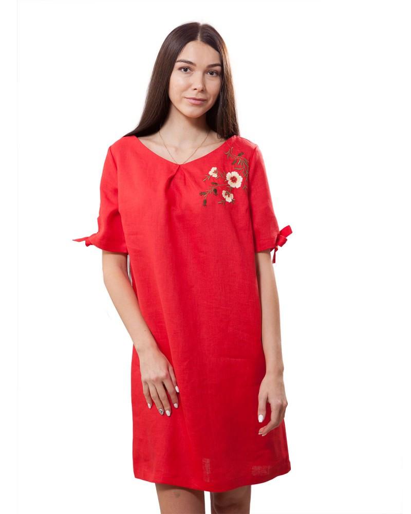 Ніжне лляне плаття з вишивкою.100% льон Розмірний ряд XS-2XL