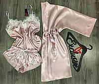 Атласний комплект трійка , халат+майка+шорти