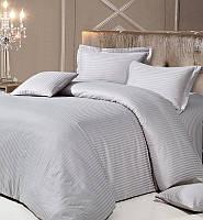 Комплект постельного белья Love You Евро Страйп-сатин 200х220 см Серый
