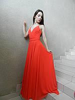 Платье-сарафан нарядное длинное вечернее на свадьбу на выпускной красное коралловое с открытой спиной