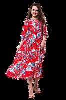 Длинное летнее платье в пол из вискозы с цветочным принтом больших размеров D65S-6 красное