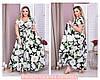 Длинное платье с принтом белые розы 50-60