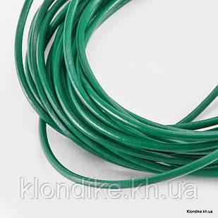 Шнур Натуральная Кожа, Диаметр: 1 мм, Цвет: Зеленый (10 м)
