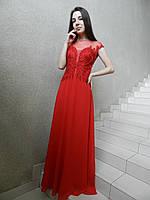Вечернее нарядное длинное платье на свадьбу на выпускной красного цвета, с расшитым корсетом, коктейльное