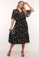Шифоновое летнее платье в цветочном принте батал с 54 по 62 размер
