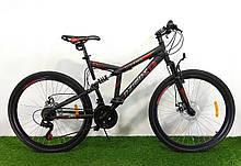 Спортивный велосипед двухподвесной Azimut Dinamic 26 D дюймов черно-красный+ подарок. Горный велосипед азимут.