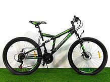 Спортивный велосипед двухподвесной Azimut Dinamic 26D дюймов черно-зеленый+ подарок. Горный велосипед азимут