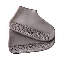 Водонепроницаемые чехлы для обуви от дождя и грязи Dry Shoes силиконовые серые