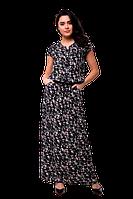Длинное летнее платье в пол прямого кроя с цветочным принтом D62S-2 черное