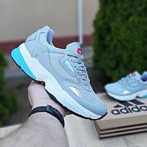 Жіночі кросівки Адідас Falcon сірі з блакитним, фото 3