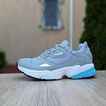 Жіночі кросівки Адідас Falcon сірі з блакитним, фото 2