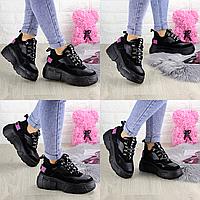 Женские кроссовки Harper черные 1302 Эко-замша  Размер 36 - 22,5 см по стельке, обувь женская
