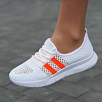 Мокасины белые женские на шнурках кроссовки светлые летние (Код: 1732)