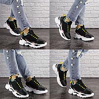 Женские кроссовки Nando черные 1393  эко-кожа сетка  Размер 37 - 23,5 см по стельке, обувь женская