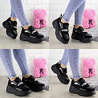 Женские кроссовки Ocelot черные 1392  эко-замша эко-кожа  Размер 36 - 23 см по стельке, обувь женская
