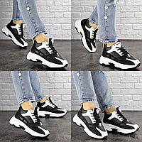 Женские кроссовки Rafael черные с белым 1373 Эко-кожа  Размер 36 - 22,5 см по стельке, обувь женская