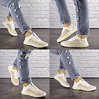 Женские прозрачные кроссовки белые Ibiza 1201  эко-кожа силикон  Размер 37 - 24 см по стельке, обувь женская
